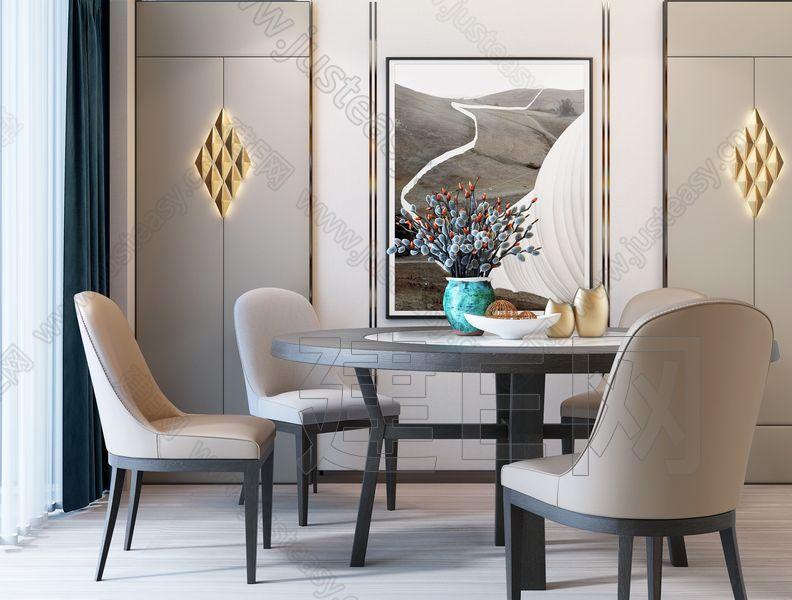 现代圆形餐桌餐椅组合