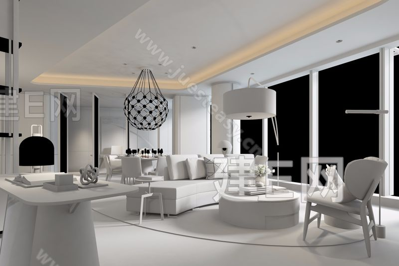 CCD郑忠设计 现代客餐厅3d模型
