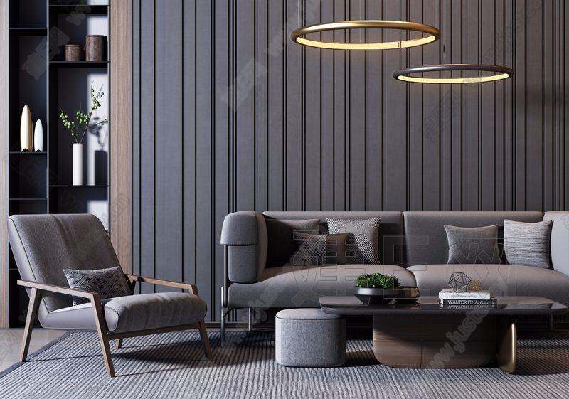 现代奢华沙发椅子茶几组合3d模型