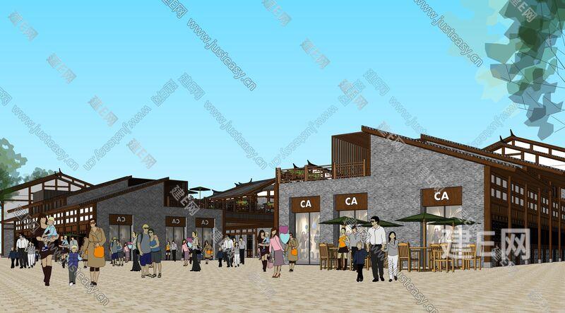 大型仿古建筑商业街整体方案sketchup模型