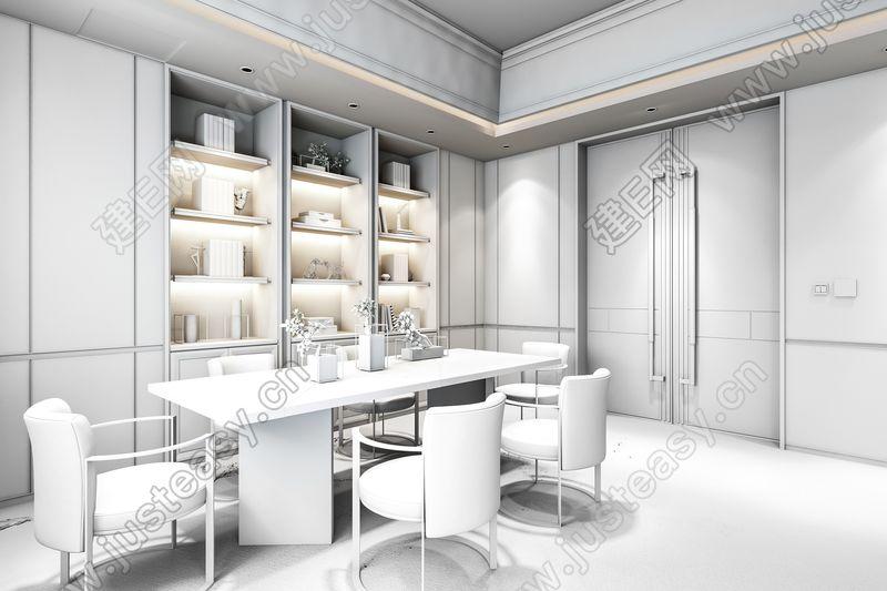 曼图设计-绿地海悦售楼中心现代洽谈区3d模型