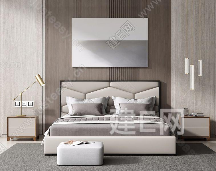 现代床具组合3d模型