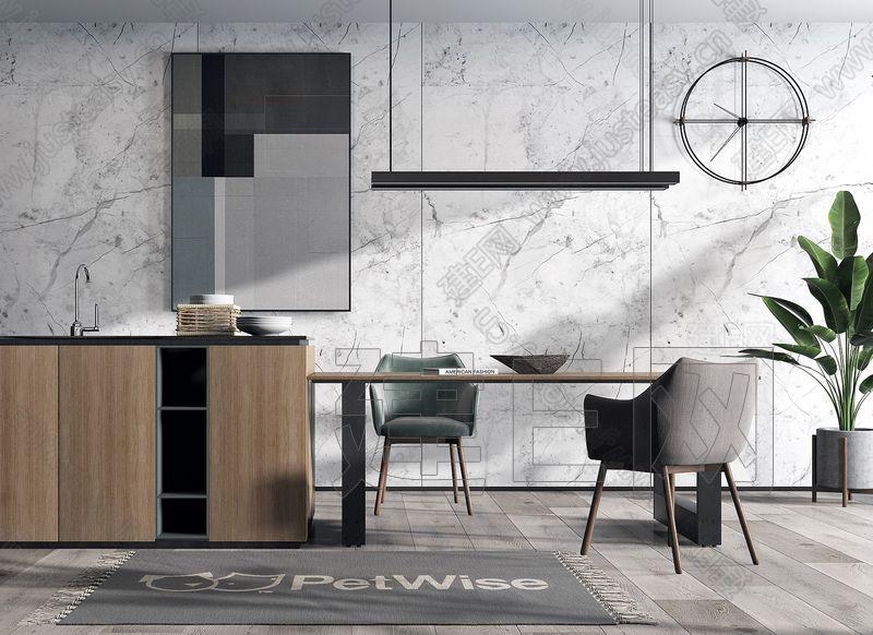现代北欧餐桌椅吧台组合3d模型
