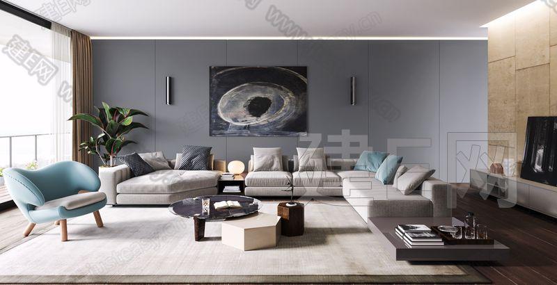 意大利 米洛提 Minotti 现代客厅3d模型