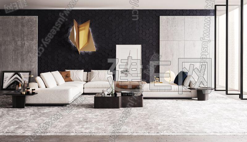 意大利 minotti 现代沙发组合3d模型