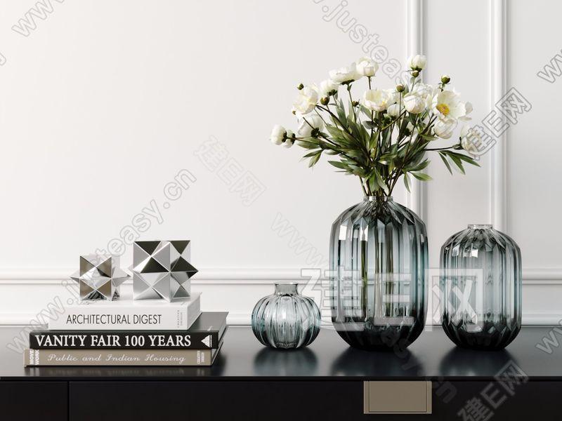 北欧玻璃花瓶摆件3d模型
