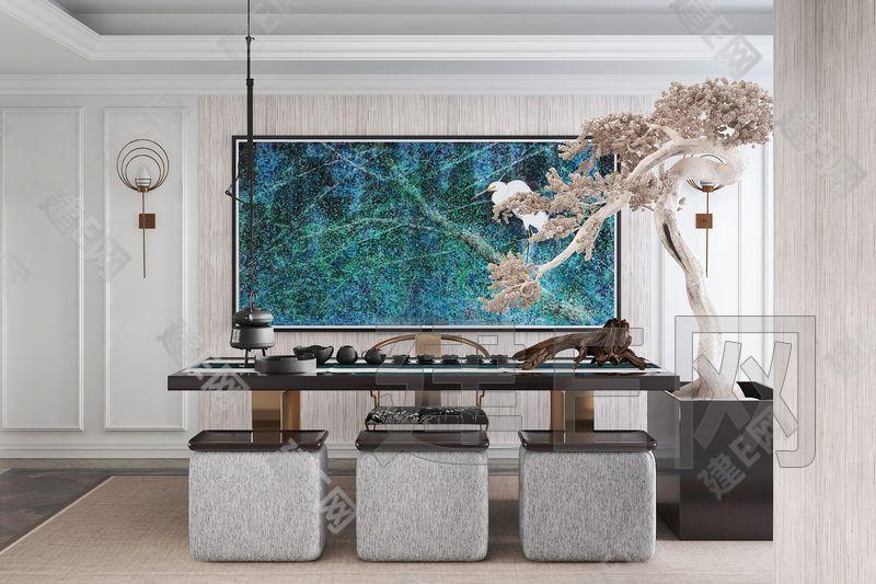 赛瑞迪普空间设计新中式茶室3d模型