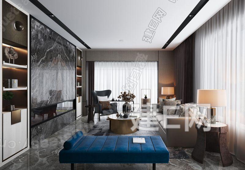 朴悦设计新中式样板间客厅3d模型