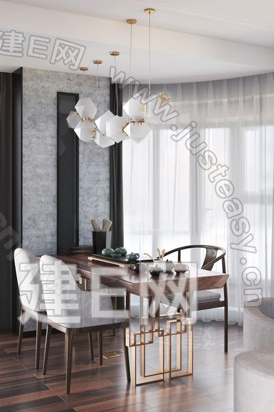 HEY空间设计 新中式茶室3d模型