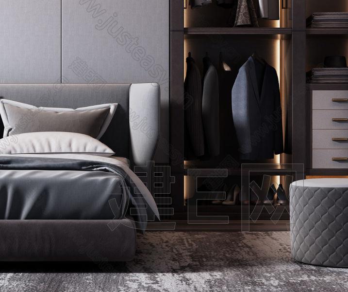 现代奢华双人床组合3d模型