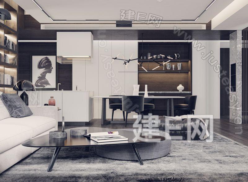 现代客餐厅玄关3d模型