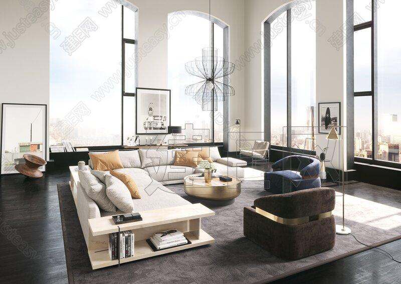 意大利Minotti 现代客厅3d模型