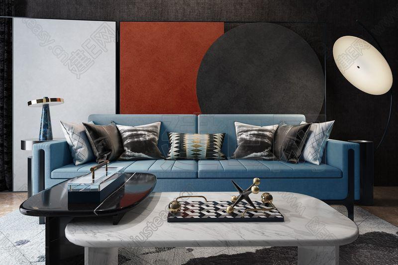 深圳壹方空间设计 西安万科·如园销售中心休息区沙发3d模型