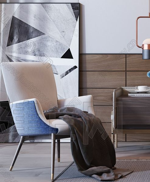 现代双人床休闲椅组合3d模型
