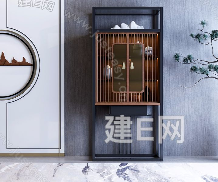 新中式装饰架3d模型