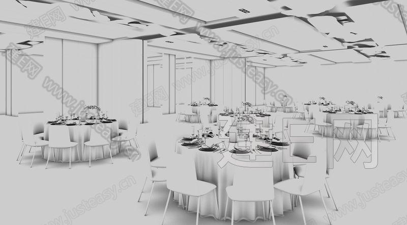 现代宴会厅3d模型