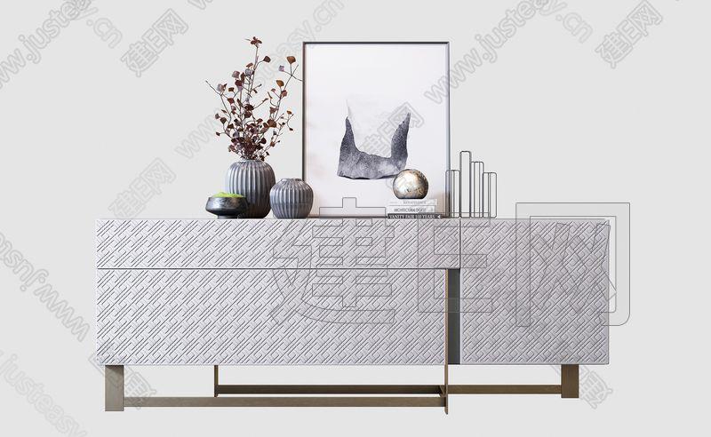 现代边柜沙发椅组合3d模型