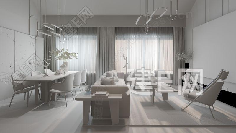 黄全 现代客餐厅3d模型