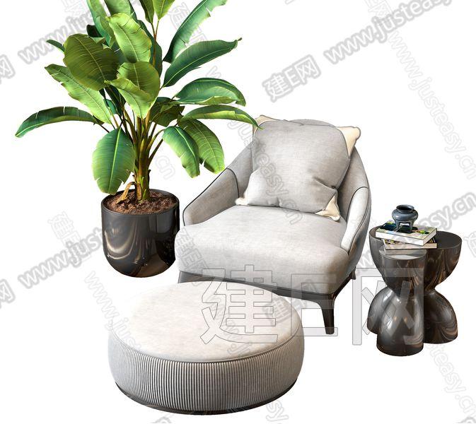 新中式单人沙发3d模型