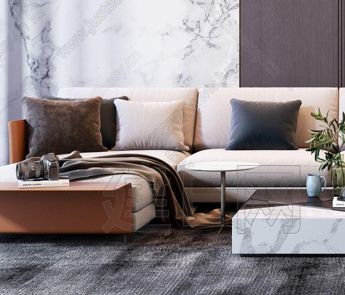 现代奢华转角沙发休闲沙发椅组合3d模型