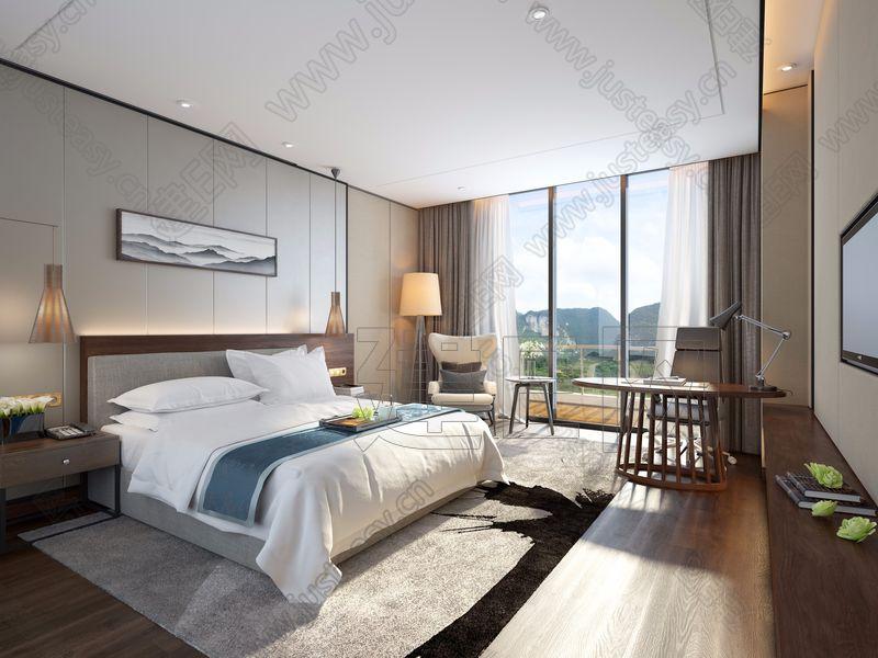 现代中式酒店客房3d模型