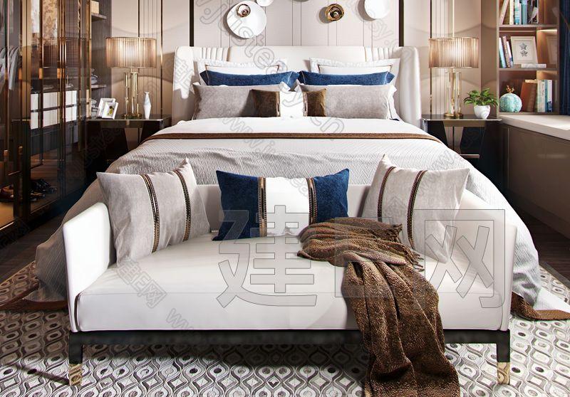 现代轻奢卧室3d模型
