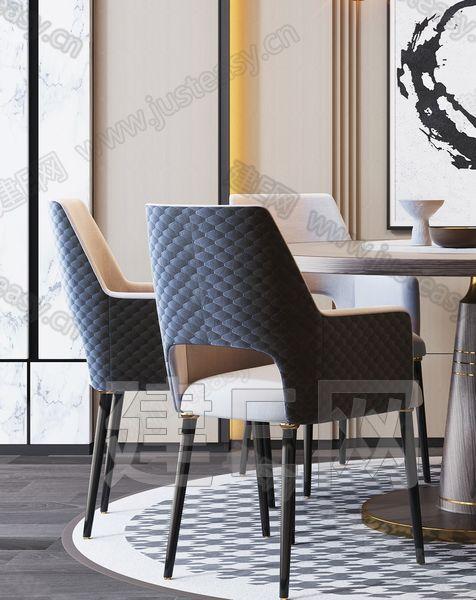 現代輕奢餐桌椅組合3d模型