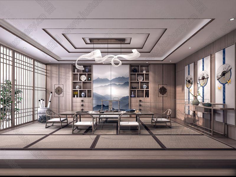 日式榻榻米茶室3d模型