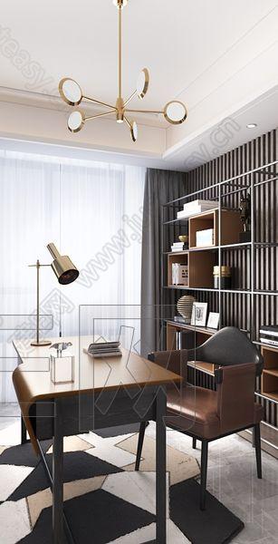 樸悅設計 現代書房3d模型