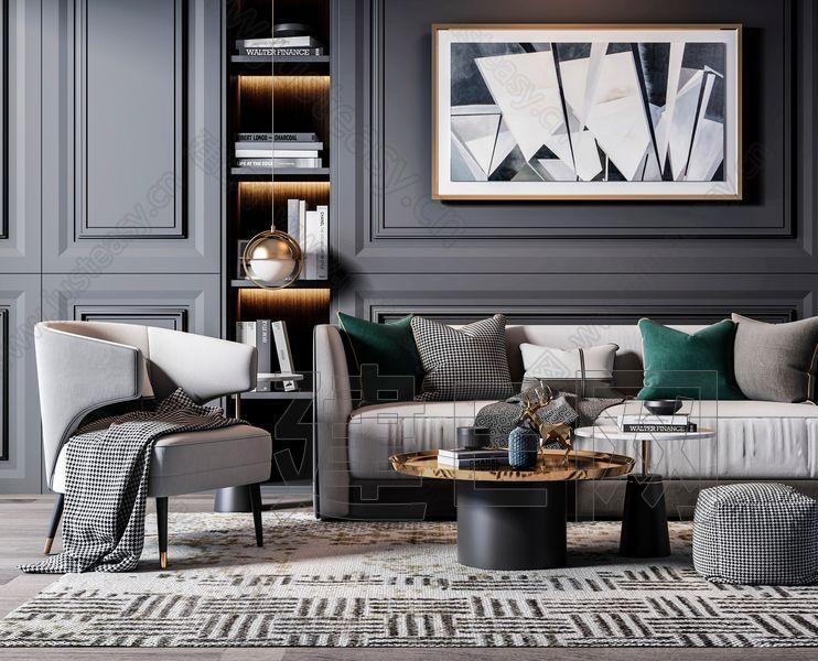现代轻奢沙发茶几组合3d模型