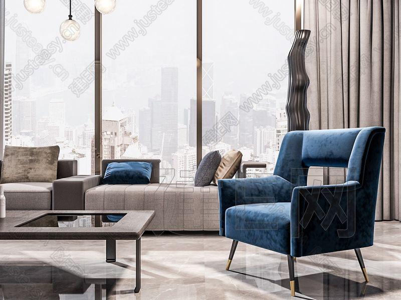 現代沙發茶幾組合3d模型