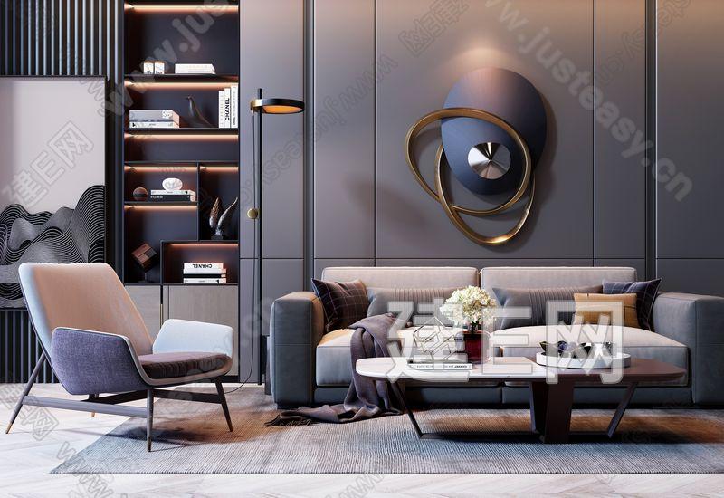 現代高級灰雙人沙發茶幾書柜組合3d模型