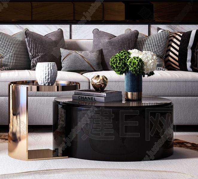 现代轻奢沙发椅子茶几组合3d模型