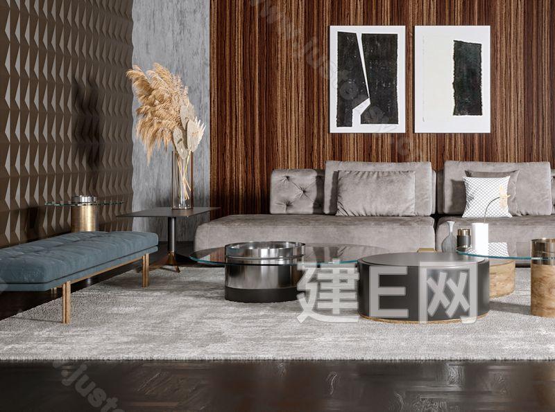Gallotti&Radice现代轻奢客厅沙发茶几组合3d模型