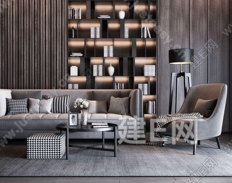 现代高级灰沙发茶几椅子组合3d模型