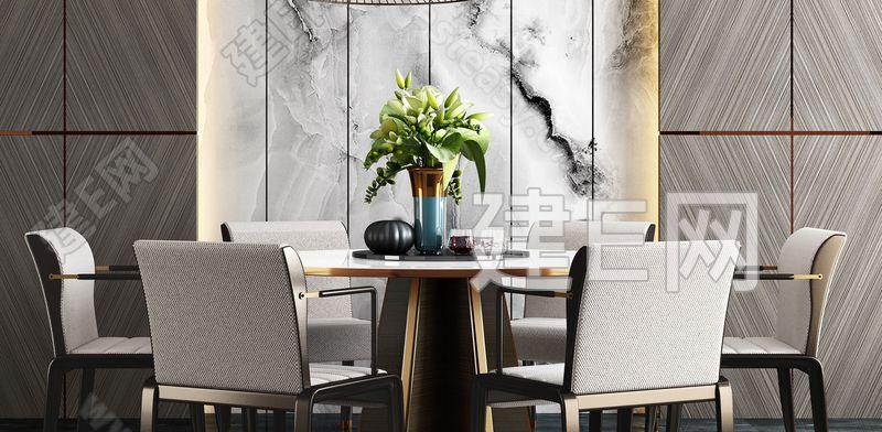 新中式餐桌椅组合3d模型