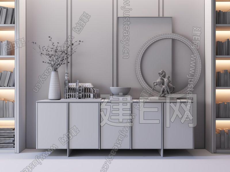 现代轻奢边柜3d模型