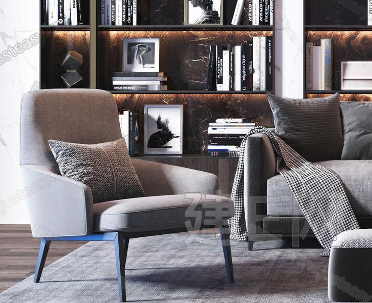 现代沙发茶几书柜组合3d模型