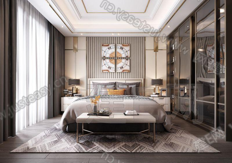 后现代轻奢卧室3d模型
