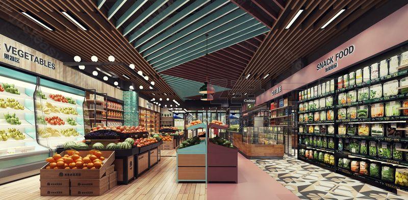 现代超市3d模型