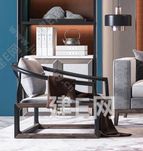 新中式沙发椅子茶几组合3d模型