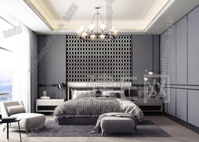 高级灰现代轻奢卧室3d模型