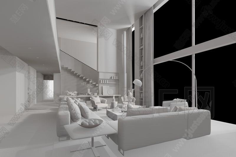 丹健&安奥拉设计 现代客厅3d模型
