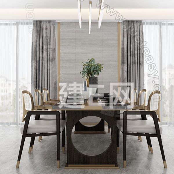 布鲁盟设计 新中式餐厅3d模型