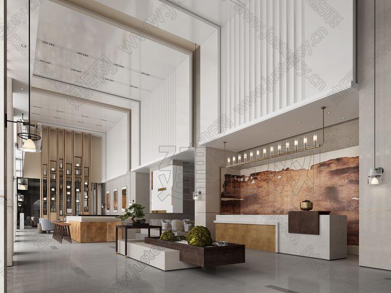 新中式售楼部大堂3d模型