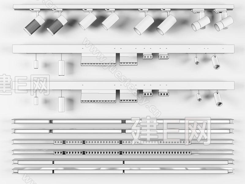 现代轨道射灯多头射灯灯带组合3d模型