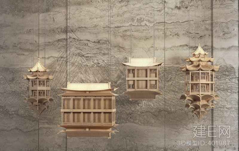 新中式装饰品吊饰3d模型