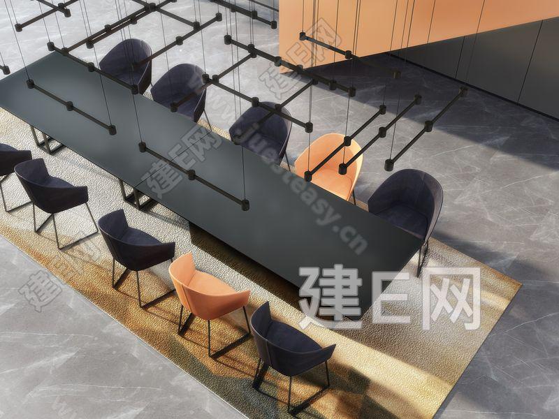 现代办公会议厅3d模型