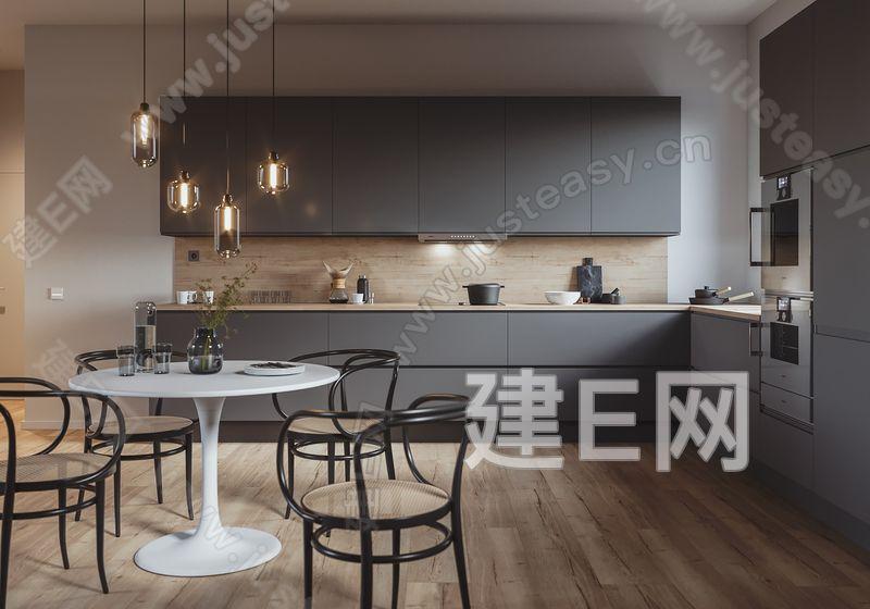 现代简约厨房3d模型