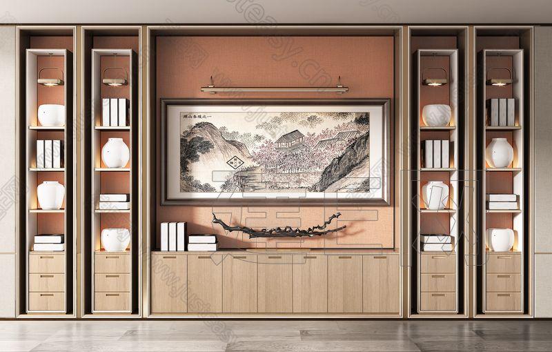 新中式书柜   3d模型